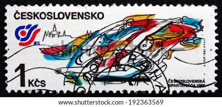 CZECHOSLOVAKIA - CIRCA 1985: a stamp printed in the Czechoslovakia shows Rhythmic Gymnastics Floor Exercise, Spartakiad '??85, Strahov Stadium, Prague, circa 1985 - stock photo