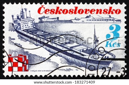 CZECHOSLOVAKIA - CIRCA 1989: a stamp printed in the Czechoslovakia shows Ship Trinec, Shipping Industry, circa 1989