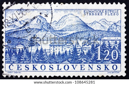 CZECHOSLOVAKIA - CIRCA 1958: a stamp printed in the Czechoslovakia shows Strbske Pleso, Spa Town, Slovakia, circa 1958 - stock photo