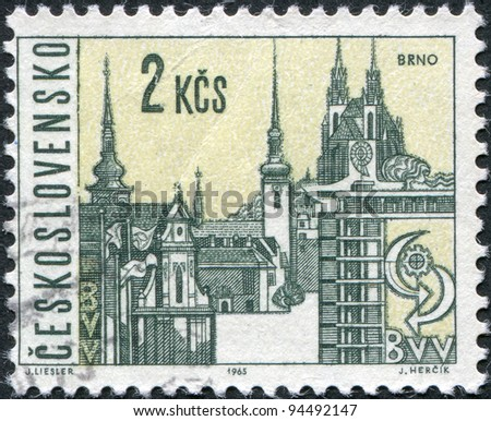 CZECHOSLOVAKIA - CIRCA 1965: A stamp printed in the Czechoslovakia, shows the city of Brno, circa 1965 - stock photo