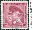 CZECHOSLOVAKIA - CIRCA 1935: A stamp printed in the Czechoslovakia, shows the first president of Czechoslovakia, Thomas Masaryk, circa 1935 - stock photo