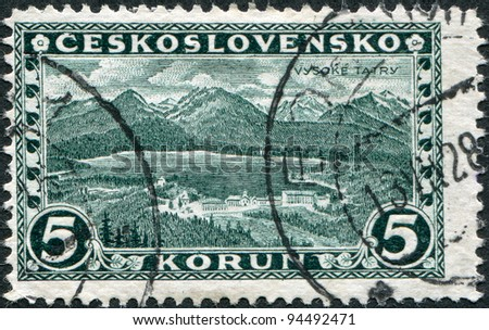CZECHOSLOVAKIA - CIRCA 1927: A stamp printed in the Czechoslovakia, shows the Great Tatra, circa 1927 - stock photo