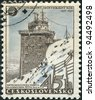 CZECHOSLOVAKIA - CIRCA 1957: A stamp printed in the Czechoslovakia, shows the Meteorological station in High Tatra, Lomnicky peak, circa 1957 - stock photo