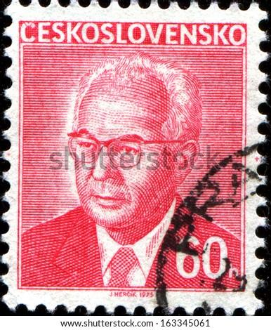 CZECHOSLOVAKIA - CIRCA 1975: A stamp printed in the Czechoslovakia, shows the president of Czechoslovakia, Gustav Husak, circa 1975  - stock photo