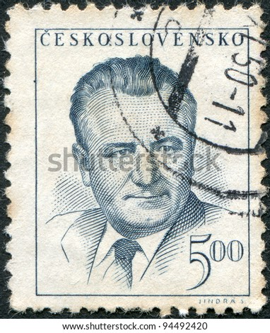 CZECHOSLOVAKIA - CIRCA 1948: A stamp printed in the Czechoslovakia, shows the president of Czechoslovakia, Klement Gottwald, circa 1948