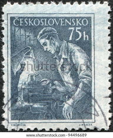CZECHOSLOVAKIA - CIRCA 1954: A stamp printed in the Czechoslovakia, shows Turner, circa 1954