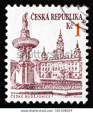 CZECHOSLOVAKIA - CIRCA 1993: a stamp printed in the Czechoslovakia shows View of Ceske Budejovice, City in the South Bohemian Region, circa 1993 - stock photo