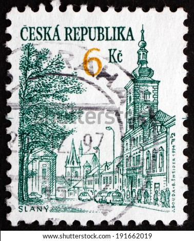 CZECHOSLOVAKIA - CIRCA 1994: a stamp printed in the Czechoslovakia shows View of Slany, City in the Central Bohemian Region, circa 1994 - stock photo