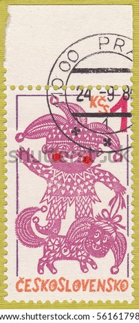 CZECHOSLOVAKIA - CIRCA 1980: A stamp showing the image of a clown, series, circa 1980