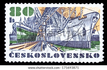 "Czechoslovakia- Circa 1972: Czechoslovakia stamp dedicated to dry cargo ship ""Republic"", circa 1972."