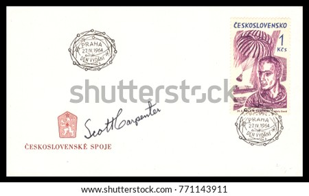 Czechoslovakia - CIRCA May 27th 1964: postal service first day cover with hand written signature  of Scott Carpenter commemorating: Mercury Project spaceship.