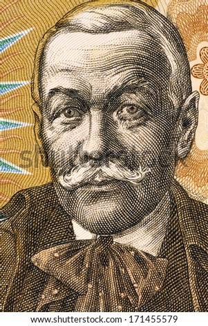 CZECHOSLOVAKIA - CIRCA 1986: Pavol Orszagh Hviezdoslav (1849-1921) on 10 Korun 1986 Banknote from Czechoslovakia. Slovak poet, dramatist and translator.