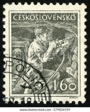CZECHOSLOVAKIA - CIRCA 1954: post stamp printed in Ceskoslovensko shows miner worker; Scott 654 A268 1.60k brown black, circa 1954 - stock photo