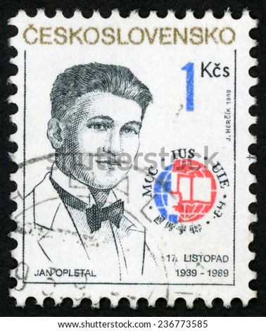 CZECHOSLOVAKIA - CIRCA 1989: post stamp printed in Ceskoslovensko shows Nazi victim Jan Opletal (1915-1939); November 17 international sudents day; Scott 2765 A996 1k black; circa 1989 - stock photo