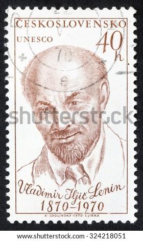 CZECHOSLOVAKIA - CIRCA 1970: post stamp printed in Ceskoslovensko shows portrait of V. I. Lenin (1870-1924), Russian Communist leader, circa 1970 - stock photo