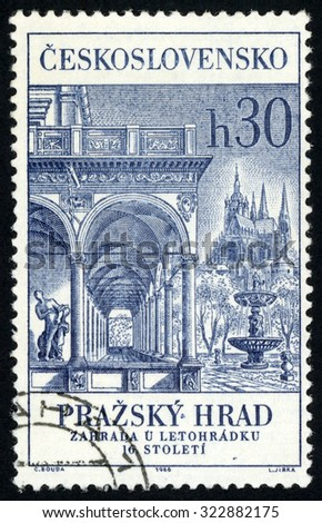 CZECHOSLOVAKIA - CIRCA 1966: post stamp printed in Czech (Ceskoslovensko) shows Belvedere Palace and St. Vitus cathedral; 16th century; Prague castle; Scott 1388 A527 30h blue; circa 1966 - stock photo