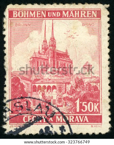 CZECHOSLOVAKIA - CIRCA 1939: post stamp printed in Czech (Ceskoslovensko) shows cathedral of st. Peter and Paul Brno; Scott 32 A6 1.50k red; circa 1939 - stock photo