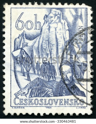 CZECHOSLOVAKIA - CIRCA 1966: post stamp printed in Czech (Ceskoslovensko) shows Devin castle as symbol Slovak nationalism and Ludovit Stur; Scott 1410 A534 60h blue; circa 1966 - stock photo