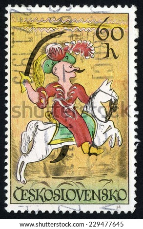CZECHOSLOVAKIA - CIRCA 1972: post stamp printed in Czech (Ceskoslovensko) shows Janissary on horse; horsemen from 18th�19th century tiles or enamel paintings on glass; Scott 1838 A658 60h, circa 1972 - stock photo