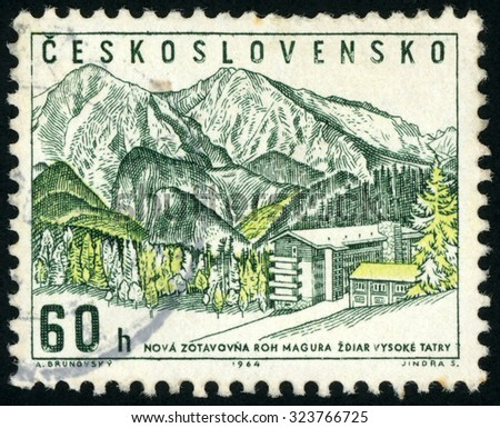 CZECHOSLOVAKIA - CIRCA 1964: post stamp printed in Czech (Ceskoslovensko) shows Magura rest home, High Tatra; zdiar vysoke tatry; Scott 1223 A469 60h green yellow; circa 1964 - stock photo