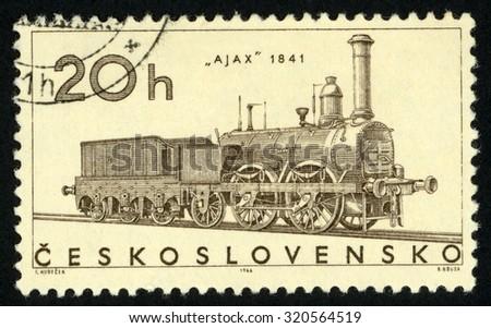 CZECHOSLOVAKIA - CIRCA 1966: post stamp printed in former Czechoslovakia (Ceskoslovensko) shows Ajax train 1841; locomotives; Scott 1374 A523 20h; circa 1966 - stock photo