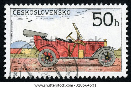 CZECHOSLOVAKIA - CIRCA 1988: post stamp printed in former Czechoslovakia (Ceskoslovensko) shows historic motor car 1914 Laurin & Klement; classic automobiles; Scott 2691 A967 50h; circa 1988 - stock photo