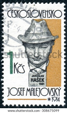 CZECHOSLOVAKIA - CIRCA 1982: Postage stamp printed in Czechoslovakia, shows Czech writer Jaroslav Hasek, sculpture by Josef Malejovsky, circa 1982 - stock photo