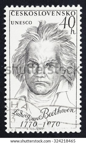 CZECHOSLOVAKIA - CIRCA 1970: postage stamp shows portrait Ludwig Van Beethoven, the famous German composer and pianist, circa 1970 - stock photo