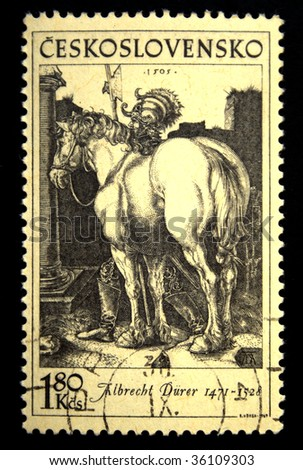 CZECHOSLOVAKIA - CIRCA 1970s: A stamp printed in Czechoslovakia shows Engraving by Albrecht Durer, circa 1970s