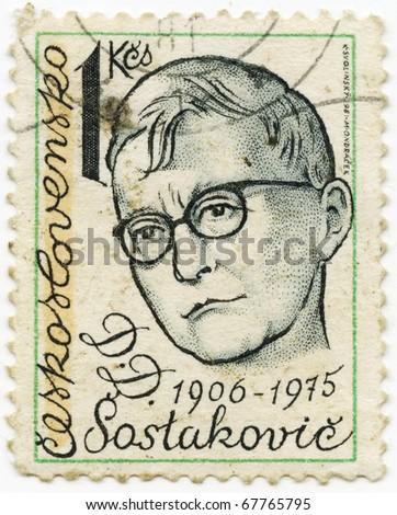 CZECHOSLOVAKIA - CIRCA 1980s: A Stamp printed in the CZECHOSLOVAKIA shows portrait of the Soviet composer Dmitri Shostakovich, circa 1980s. - stock photo