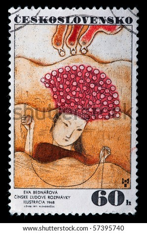 CZECHOSLOVAKIA - CIRCA 1971: stamp printed by Czechoslovakia shows a picture of artist Eva Bednarova. Chinese fairy tale illustration, circa 1971 - stock photo