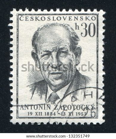 CZECHOSLOVAKIA - CIRCA 1957: stamp printed by Czechoslovakia, shows Antonin Zapotocky, circa 1957