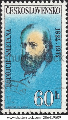 CZECHOSLOVAKIA - CIRCA 1974:stamp printed by Czechoslovakia , shows Bedrich (Friedrich) Smetana was a Czech composer, pianist and conductor, circa 1974 - stock photo