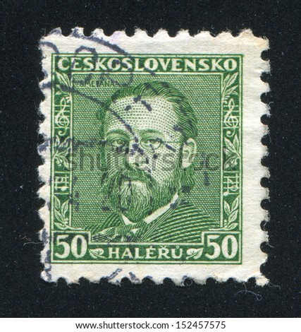 CZECHOSLOVAKIA - CIRCA 1934: stamp printed by Czechoslovakia, shows Bedrich Smetana, Czech Composer and Pianist, circa 1934