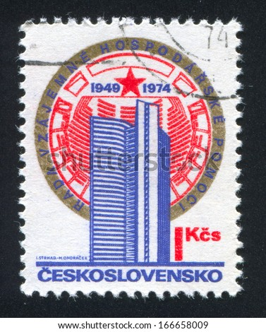 CZECHOSLOVAKIA - CIRCA 1974: stamp printed by Czechoslovakia, shows Comecon Building, Moscow, circa 1974 - stock photo