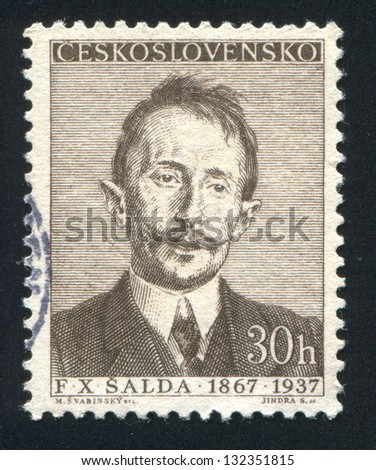 CZECHOSLOVAKIA - CIRCA 1956: stamp printed by Czechoslovakia, shows F. X. Salda, circa 1956