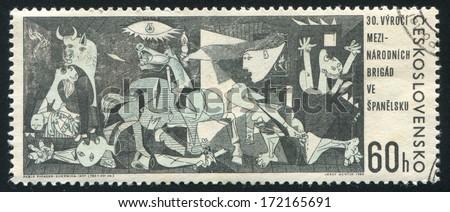 CZECHOSLOVAKIA - CIRCA 1966: stamp printed by Czechoslovakia, shows ??Guernica?� by Pablo Picasso, circa 1966 - stock photo