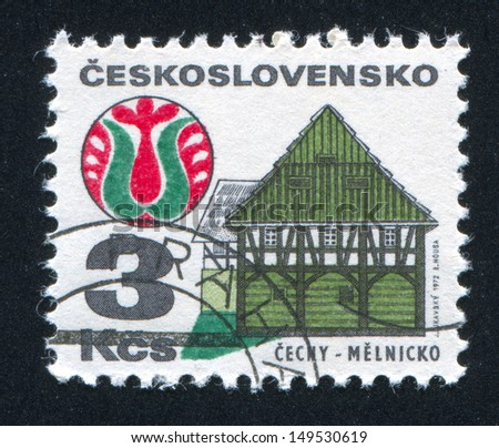 CZECHOSLOVAKIA - CIRCA 1972: stamp printed by Czechoslovakia, shows House and folk art, Melnik, circa 1972