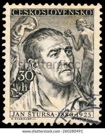 CZECHOSLOVAKIA - CIRCA 1955: Stamp printed by Czechoslovakia, shows Jan Stursa, circa 1955 - stock photo