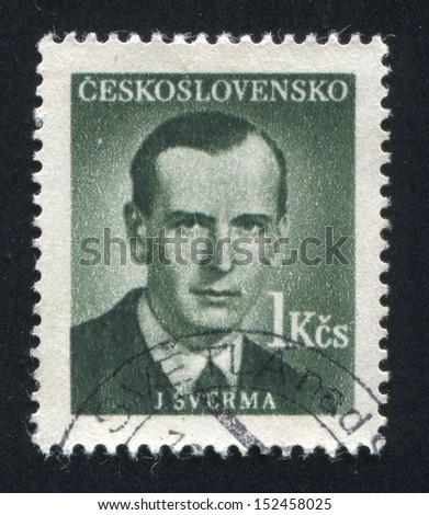 CZECHOSLOVAKIA - CIRCA 1949: stamp printed by Czechoslovakia, shows Jan Sverma, circa 1949 - stock photo