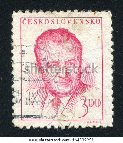 CZECHOSLOVAKIA - CIRCA 1948: stamp printed by Czechoslovakia, shows Klement Gottwald, circa 1948 - stock photo