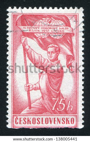 CZECHOSLOVAKIA - CIRCA 1957: stamp printed by Czechoslovakia, shows Man Holding Banner of Trade, circa 1957
