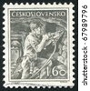 CZECHOSLOVAKIA - CIRCA 1954: stamp printed by Czechoslovakia, shows Miner, circa 1954 - stock photo
