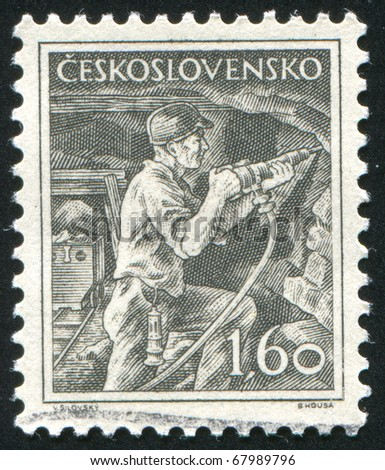 CZECHOSLOVAKIA - CIRCA 1954: stamp printed by Czechoslovakia, shows Miner, circa 1954
