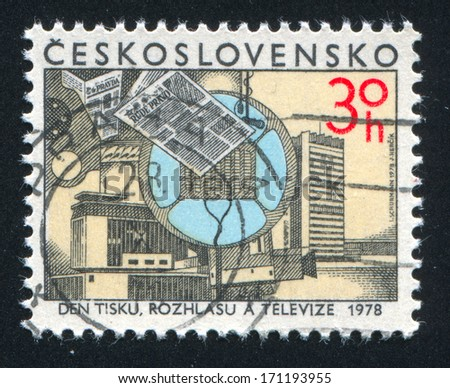 CZECHOSLOVAKIA - CIRCA 1978: stamp printed by Czechoslovakia, shows Newspaper, Microphone, circa 1978
