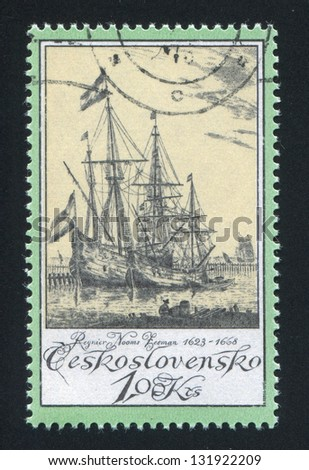 CZECHOSLOVAKIA - CIRCA 1976: stamp printed by Czechoslovakia, shows Old Engravings of Ships, by Regnier Nooms Zeeman, circa 1976 - stock photo