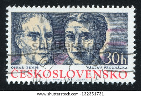 CZECHOSLOVAKIA - CIRCA 1974: stamp printed by Czechoslovakia, shows Oskar Benes and Vaclav Prochazka, circa 1974