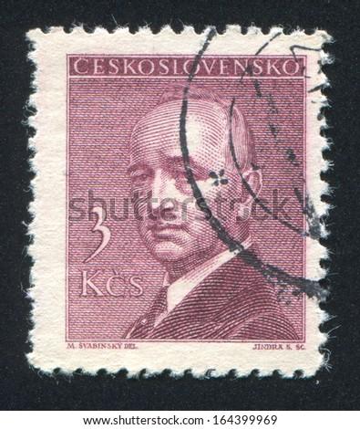CZECHOSLOVAKIA - CIRCA 1946: stamp printed by Czechoslovakia, shows President Eduard Benes, circa 1946 - stock photo