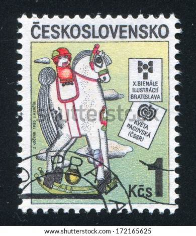 CZECHOSLOVAKIA - CIRCA 1985: stamp printed by Czechoslovakia, shows Rocking Horse, by Kveta Pacovska, USSR, circa 1985