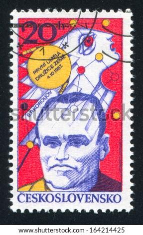 CZECHOSLOVAKIA - CIRCA 1977: stamp printed by Czechoslovakia, shows S. P. Korolev, Sputnik  Emblem, circa 1977 - stock photo